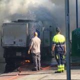 Incendio de un vehículo de limpieza en Leganés