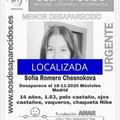 Sofía Romero, es encontrada sana y salva tras su desaparición en Móstoles