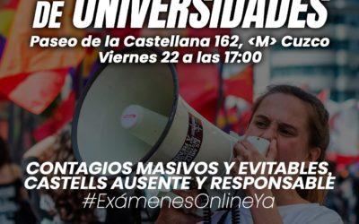 Los estudiantes madrileños se concentran frente al Ministerio de Universidades para exigir que los exámenes se realicen de forma online